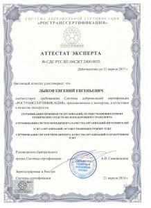 Сертификат эксперта Лыков Е.Е.